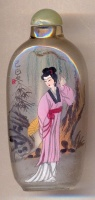 Ladies. Chinese inside hand painted glass snuff bottle.
