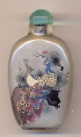 Peacocks. Chinese inside hand painted glass snuff bottle