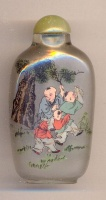 Children playing. Chinese inside hand painted glass snuff bottle