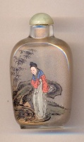 Ladies. Chinese inside hand painted glass snuff bottle