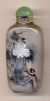 Cranes. Chinese inside hand painted glass snuff bottle