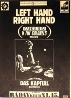 Soós György [Georgivs] (graf.) : Left Hand Right Hand [live performances] (Zahgurim & The Colonels. London.)  Das Kapital. Budapest.<br>Ráday Klub, 1986. XI.15.  (Fehér változat)