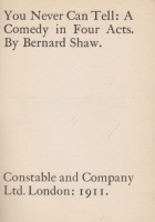 Shaw, Bernard [George] : You Never Can Tell: A  Comedy in Four Acts.