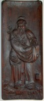 205. Man with Cherry Branch. Antique chinese wood carved panel. :
