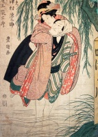 UTAGAWA TOYOKUNI I: : Actors Onoe Eizaburo as Ohan and Sawamura Gennosuke as Choemon.