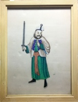 Chinese warrior : Chinese watercolor on rice paper painting, cca 1880.