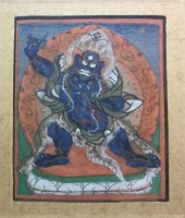Tibetan Buddhist deity : Hand painted on paper [maybe part of thangka] Cca 1850
