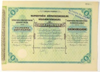 Nemzetközi Gépkereskedelmi Részvénytársaság öt Alapítójegy, 1927. / International Machinery Trading Company Limited five Founders' Certificates. / Internationale Maschinenhandels fünf Gründerscheine