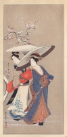 CHOBUNSAI EISHI : Geishas in Snow also known as A Geisha              and her Attendant Under the Snow.