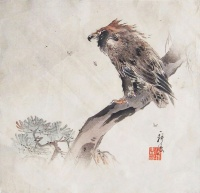 TSUKIOKA KOGYO : Eagle on Pine Tree also known as Eagle in the Wind.