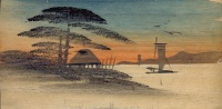 123.     Native Hut, Pine Trees, Sailing Boats Scene. :