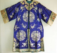 Antique chinese blue ladies jacket with silk embroidery.  :