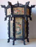 207. Antique Chinese hand painted lantern with 6-6 flower-bird paintings on silk. :