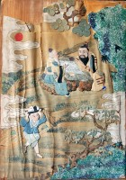 202. Go Players. Antique Chinese paper, textile application used old paintings. Cca. 1900. :