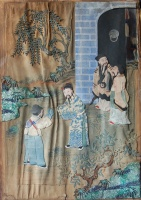 201. Welcoming Guest. Antique chinese paper, textile, glass application used old paintings. Cca. 1900. :