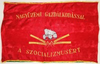 303. Nagyüzemi gazdálkodással a szocializmusért. [Kétoldalas nagyméretű zászló, cca. 1960.]<br><br>[With large-scale economy for the socialism.] [Double-side large.sized flag, cca 1960.]