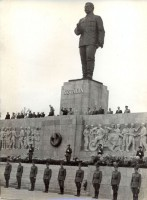 212. [1953. május 1. A dísztribün a Sztálin szoborral Budapesten.] [Riportfotó.]<br><br>[1 May 1953. The grandstand with the Stalin statue in Budapest.] [Photo reportage.]