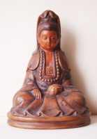 208.     Seated Bodhisattva. : Chinese hand-painted glazed terracotta sculpture.