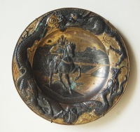 213.     Equestrian statue of a Shogun and                 landscape of Edo. : Dragon motifs on the edge of the plate.                Antique Japanese gilt bronze plate                in art nouveau style. Cca 1900-1920.
