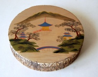 260.   Vintage japanese lacquer box with landscape motif on the top.  :