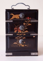 261.   Three drawers vintage japanese lacquer mini box with bird and plants motifs on the top and round sideways.  :