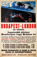 207. Budapest-London és vissza. Legolcsóbb útirány Hamburgon vagy Brémán át! [plakát]<br><br>[Budapest-London and backwards. The cheapest route through Hamburg or Bremen!] [lithographic poster] :