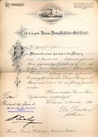 269. Erste k.k. priv. Donau-Dampfschiffarth-Gesellschaft. [fejléces levélpapír]<br><br>[official letter with letterhead from the First Imperial and Royal Steamboat Company, Austro-Hungarian Monarchy] :