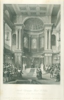 Shepherd, T.[homas] H.[asmer] (1793-1864) : Jewish Synagogue, Great St. Helens - Celebration of the Feast of Tabernacles.