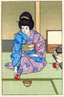 Unidentified artist : (Woman performing a tea ceremony.)