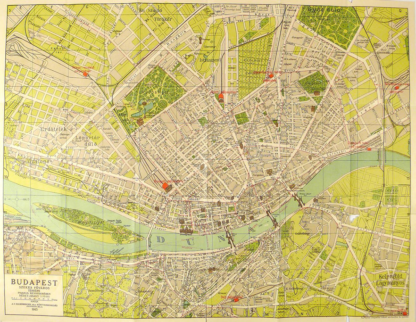 budapest térkép házszámokkal Budapest székesfőváros és környékének legujabb nagy térképe  budapest térkép házszámokkal