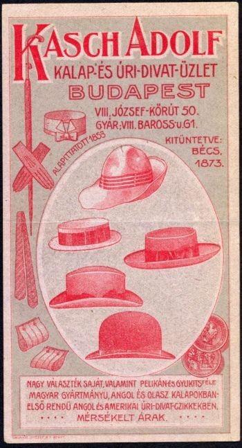 de7ac463a432 0531. Kasch Adolf kalap és úri divat üzlete, Budapest (piros ...